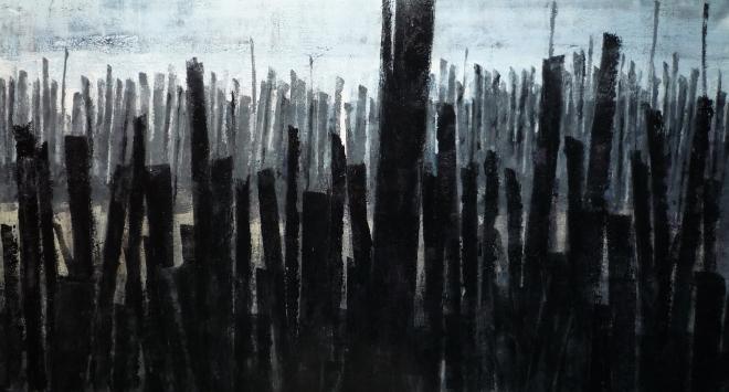 sj 2012-22 Franse Atlantische kust beschoeiingen inkt op hout 60×110cm